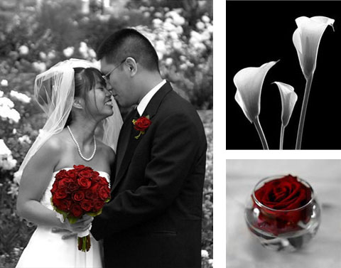 Three pictures: Married couple with bride holding flowers, flowers and rose in glass bowl